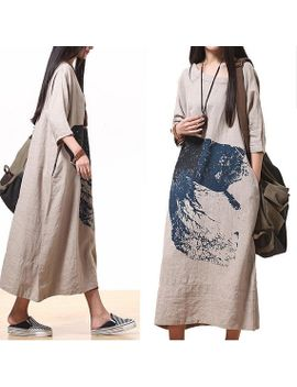 comfort-linen-maxi-dress-_-unique-summer-ma-qualities--round-neck-short-sleeved-loose-dress by dreamyil