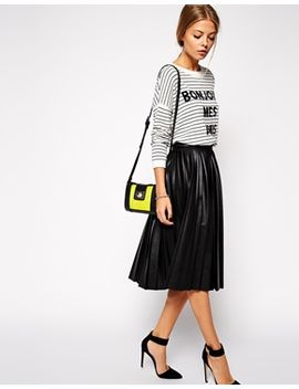 asos-pleated-midi-skirt-in-leather-look by asos-collection