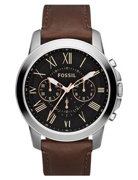 grant-round-chronograph-leather-strap-watch,-44mm by fossil