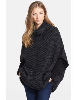 stellan-merino-wool-&-cashmere-turtleneck-poncho-sweater by joie