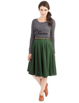 breathtaking-tiger-lilies-midi-skirt-in-clover by modcloth