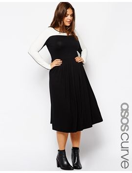 asos-curve-exclusive-midi-skater-dress-in-color-block by asos-curve