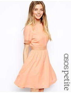 asos-petite-open-back-lace-waist-skater-dress by asos-petite