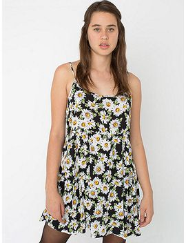 floral-print-rayon-challis-spaghetti-strap-babydoll-dress by american-apparel