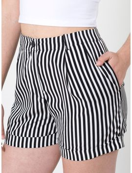stripe-pleated-cuff-short- by american-apparel