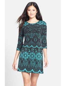 lace-print-jersey-shift-dress by donna-morgan