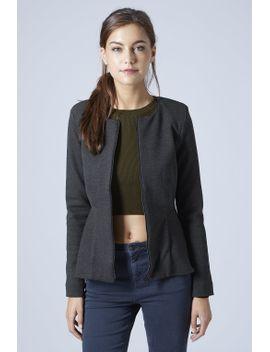 slim-peplum-zip-jacket by topshop
