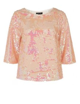 pink-3_4-sleeve-sequin-top by new-look