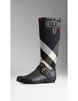 canvas-check-detail-rain-boots by burberry