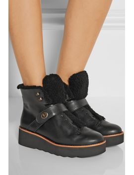 urban-hiker-shearling-trimmed-leather-boots by coach