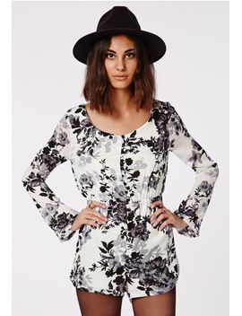 mandy-printed-floral-bell-sleeve-romper-white by missguided