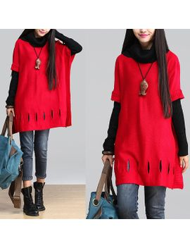 red-stitching-holes-turtleneck-jacket-_-cotton-loose-long-sleeved-sweater by dreamyil