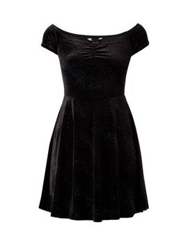 black-sparkle-bardot-neck-skater-dress by new-look