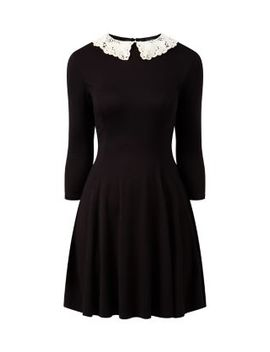 black-crochet-collar-3_4-sleeve-skater-dress by new-look