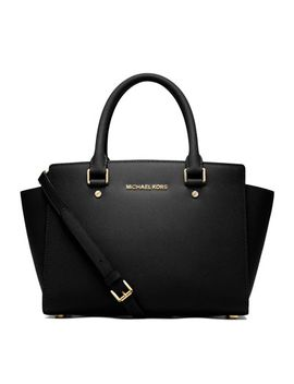 selma-medium-top-zip-satchel-bag,-black by michael-michael-kors
