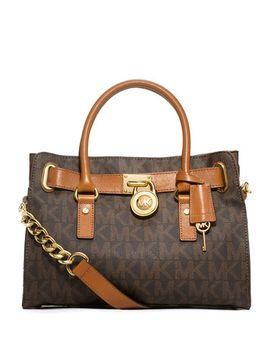 hamilton-mk-logo-satchel-bag,-brown by michael-michael-kors