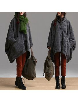 dark-gray-long-section-plus-quilted-velvet-jacket-_-loose-large-front-and-rear-asymmetrical-bat-shirt-pocket-overcoat by dreamyil