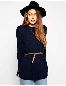 asos-jumper-in-cable-knit-with-belt by asos-collection