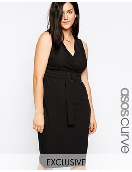 asos-curve-exclusive-d-ring-v-front-skater-dress-in-crepe---longer-length by asos-curve