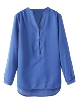 blue-v-neck-chiffon-shift-shirt by choies