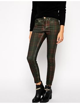 asos-lisbon-skinny-mid-rise-ankle-grazer-jeans-in-mulled-plaid--print by asos-collection