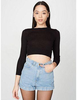 medium-wash-high-waist-jean-cuff-short by american-apparel
