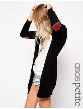 asos-petite-longline-cardigan-with-elbow-patch by asos-petite