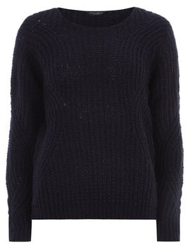 navy-engineered-knit-jumper by dorothy-perkins