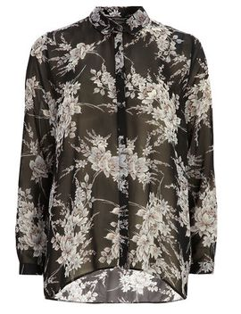 black-floral-long-line-shirt by dorothy-perkins