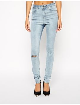 asos-ridley-skinny-jeans-in-aqualine-blue-with-ripped-knee by asos-collection