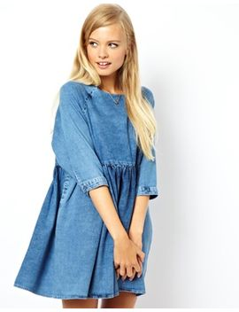 asos-denim-smock-dress-in-mid-wash by asos-collection