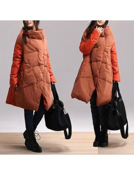 irregular-winter-long-section-collar-down-jacket-_-atmosphere-comfortable-and-warm-winter-duck-down-asymmetrical-stitching--overcoat by dreamyil
