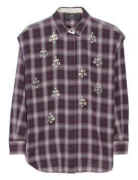 alfredah-embellished-plaid-cotton-shirt by by-malene-birger