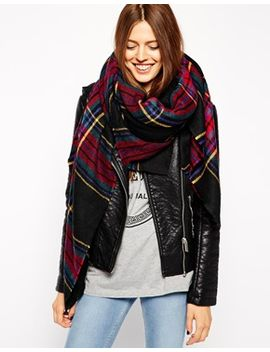 asos-oversized-black-check-square-scarf by asos-collection