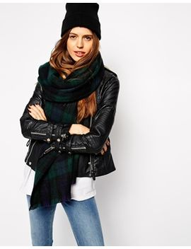 asos-oversized-scarf-in-green-tartan-check by asos-collection