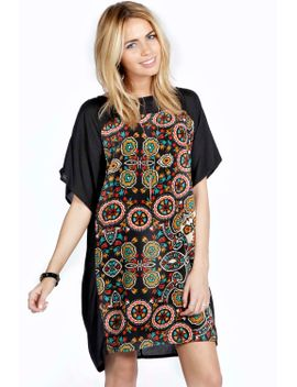 charlie-patterned-front-panel-shift-dress by boohoo