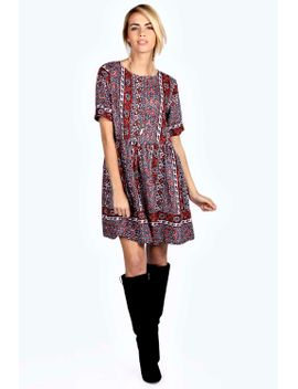 pam-woven-printed-smock-dress by boohoo