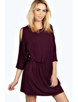 lisa-cold-shoulder-bagged-over-dress by boohoo