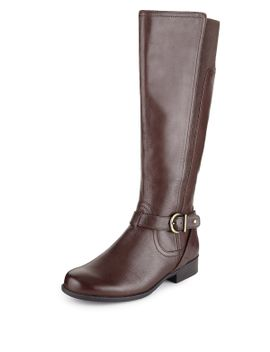 leather-wide-fit-buckle-knee-boots-with-stain-away™ by marks-&-spencer