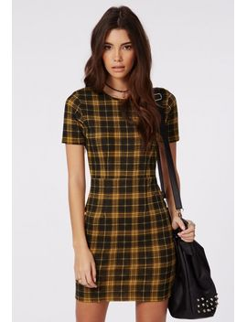 aiza-check-bodycon-dress-mustard by missguided