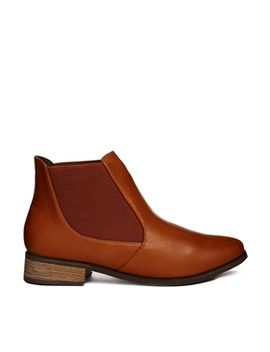 london-rebel-tan-flat-chelsea-boot by shoes