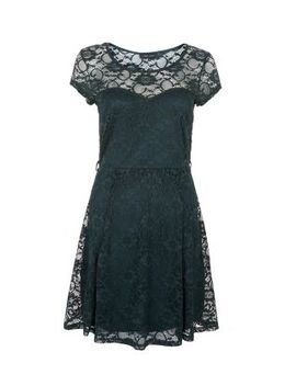 dark-green-lace-belted-skater-dress by new-look