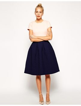 asos-textured-bonded-midi-skater-dress by asos-collection