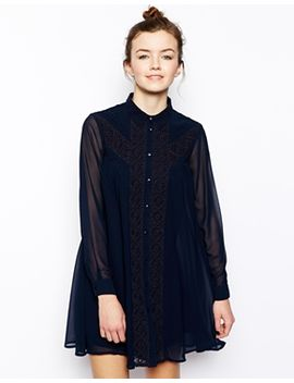 asos-swing-dress-with-broderie-inserts by asos-collection