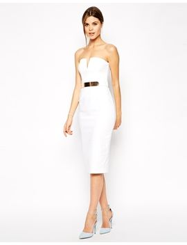 asos-plunge-bandeau-midi-with-belt by asos-collection