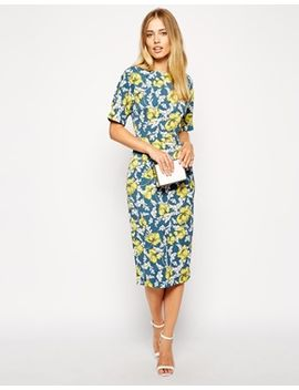 asos-soft-wiggle-dress-in-floral-wallpaper-print by asos-collection