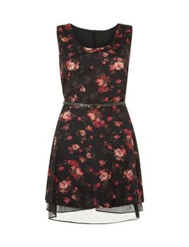 apricot-black-floral-print-belted-dress by new-look