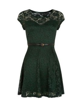 mela-green-lace-belted-skater-dress by new-look