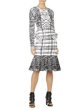 emmanuelle-jacquard-peplum-dress by bcbgmaxazria