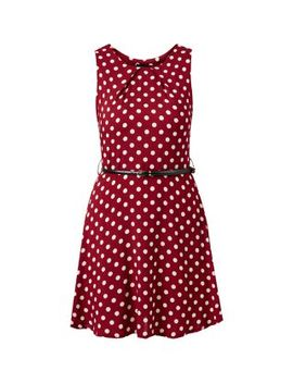 burgundy-polka-dot-print-belted-skater-dress by new-look